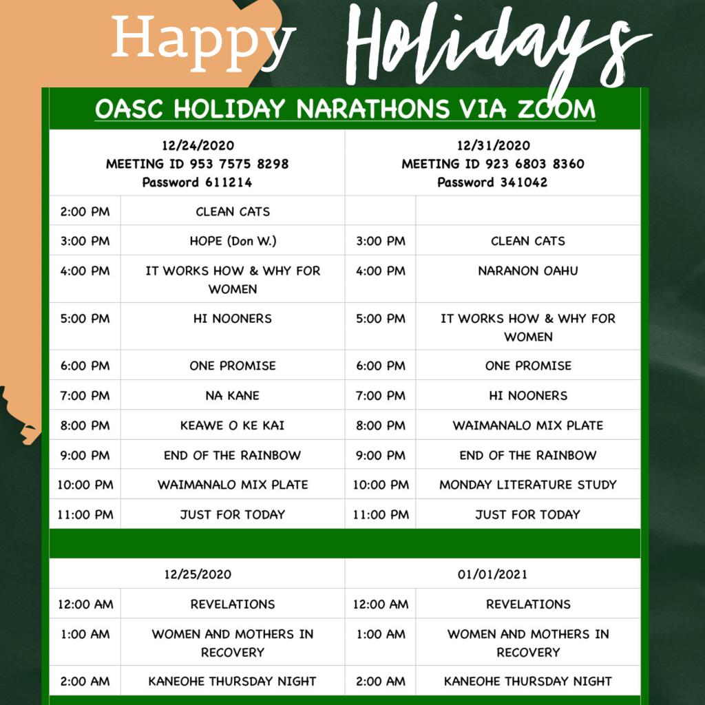 OASC Holiday NArathons schedule